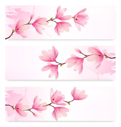Three spring banners with blossom brunch of pink vector