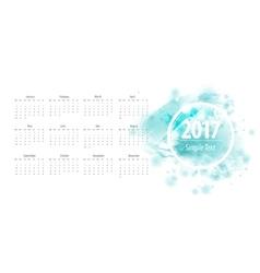 Calendar blue 2017 week starts from sunday vector image vector image