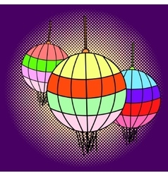 Chinese lanterns pop art vector image vector image