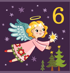 cute angel is flying with a star in his hands vector image