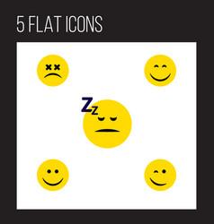 flat icon emoji set of joy smile asleep and vector image vector image