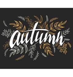 hand lettering label - autumn - with doodle vector image vector image