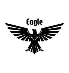 Heraldic eagle sign of black bird with open wings vector image