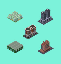 isometric urban set of warehouse tower clinic vector image vector image