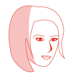 red silhouette shading cartoon side profile face vector image