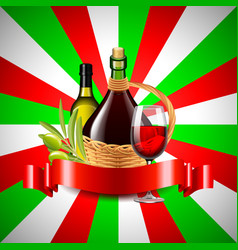 wine and olive oil on italian flag background vector image vector image