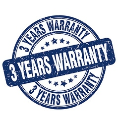 3 years warranty blue grunge round vintage rubber vector