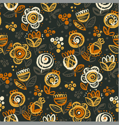 60s vibes orange on black floral seamless pattern vector
