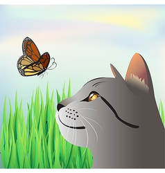 a butterfly and a cat vector image