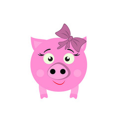 a pig with bow new year icon in color vector image