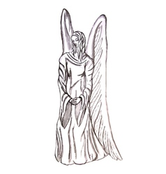 Angel statue vector