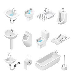Bathroom furniture and equipment isolated objects vector