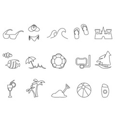 Black beach outline icons set vector