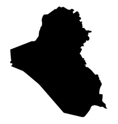black silhouette country borders map of iraq on vector image