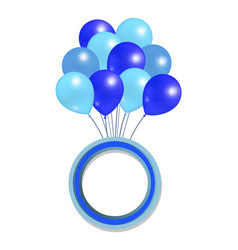 blue balloons big bundle round frame for greetings vector image