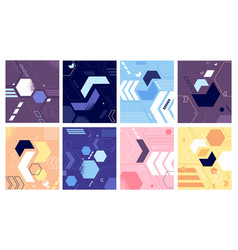 bright geometric shapes design funky abstract vector image