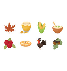 canada thanksgiving day icons in set collection vector image