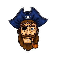 Cartoon pirate captain with smoking pipe vector image