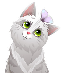 cat or kitten playing with butterfly portrait vector image