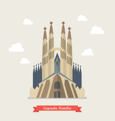 Catholic church sagrada familia vector