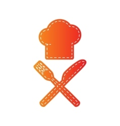 Chef with knife and fork sign Orange applique vector image