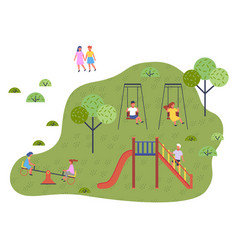 Children spending time at playground kindergarten vector