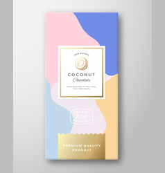 Coconut chocolate label abstract packaging vector