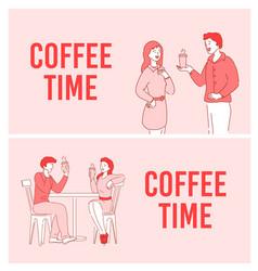 Coffee time short break communication poster set vector