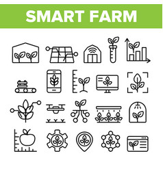 Collection smart farm elements icons set vector