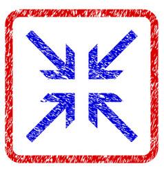 collide arrows grunge framed icon vector image