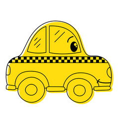 Color kawaii happy taxi car transport vector
