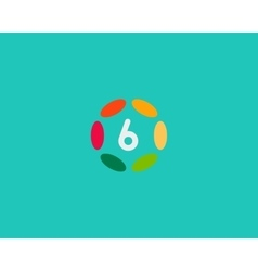Color number 6 logo icon design Hub frame vector image