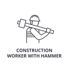 Construction worker with hammer line icon vector