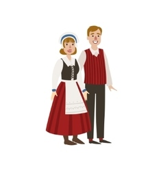 Couple In Hollandaise National Clothes vector