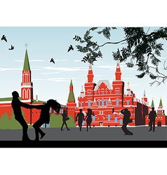couples on the Red Square vector image