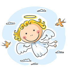 Cute angel flying with birds vector