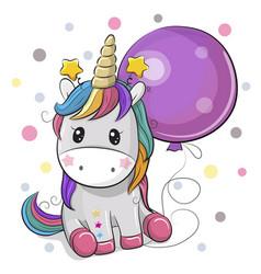 Cute cartoon unicorn with balloon vector