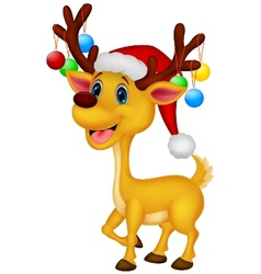 Cute deer cartoon wearing red hat vector image