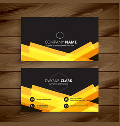 dark business card with abstract yellow shapes vector image