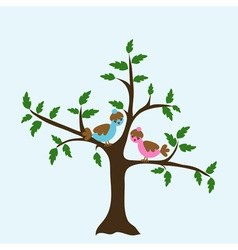 Decorative floral tree and bird vector image