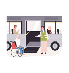 Disabled passenger in wheelchair getting on bus vector