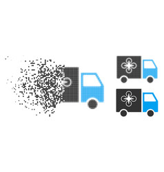 Dispersed dotted halftone drone delivery van icon vector