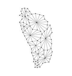 Dominica map of polygonal mosaic lines network vector