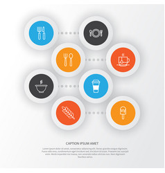Eating icons set collection of bowl hot drink vector
