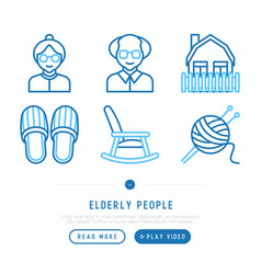 Elderly people thin line icons set vector