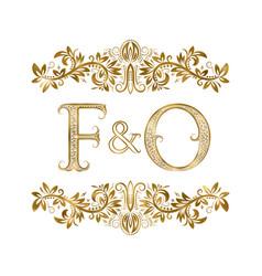 F and o vintage initials logo symbol vector