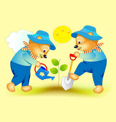 Fantasy two cute little bears planting vector