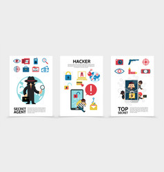 Flat hacking posters vector