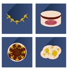 Flat icon collection with shadow food vector