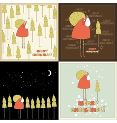 Four Christmas in vector image